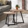 Ensemble de tables basses vintage en bois avec piétement en acier Julianne