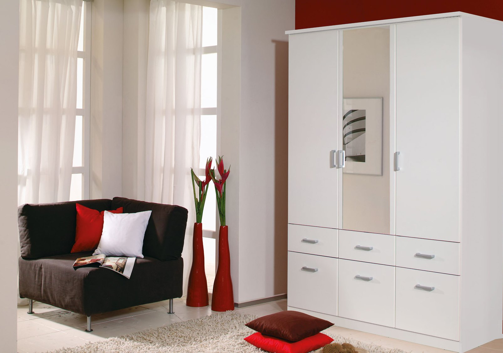 Armoire contemporaine blanche 136 cm Epsylon