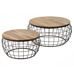 Lot de 2 tables basses contemporaines avec plateau en bois massif Olivier
