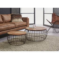 Lot de 2 tables basses contemporaines avec plateau en bois massif Olivier