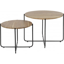 Lot de 2 tables basses vintage en bois massif Caroline