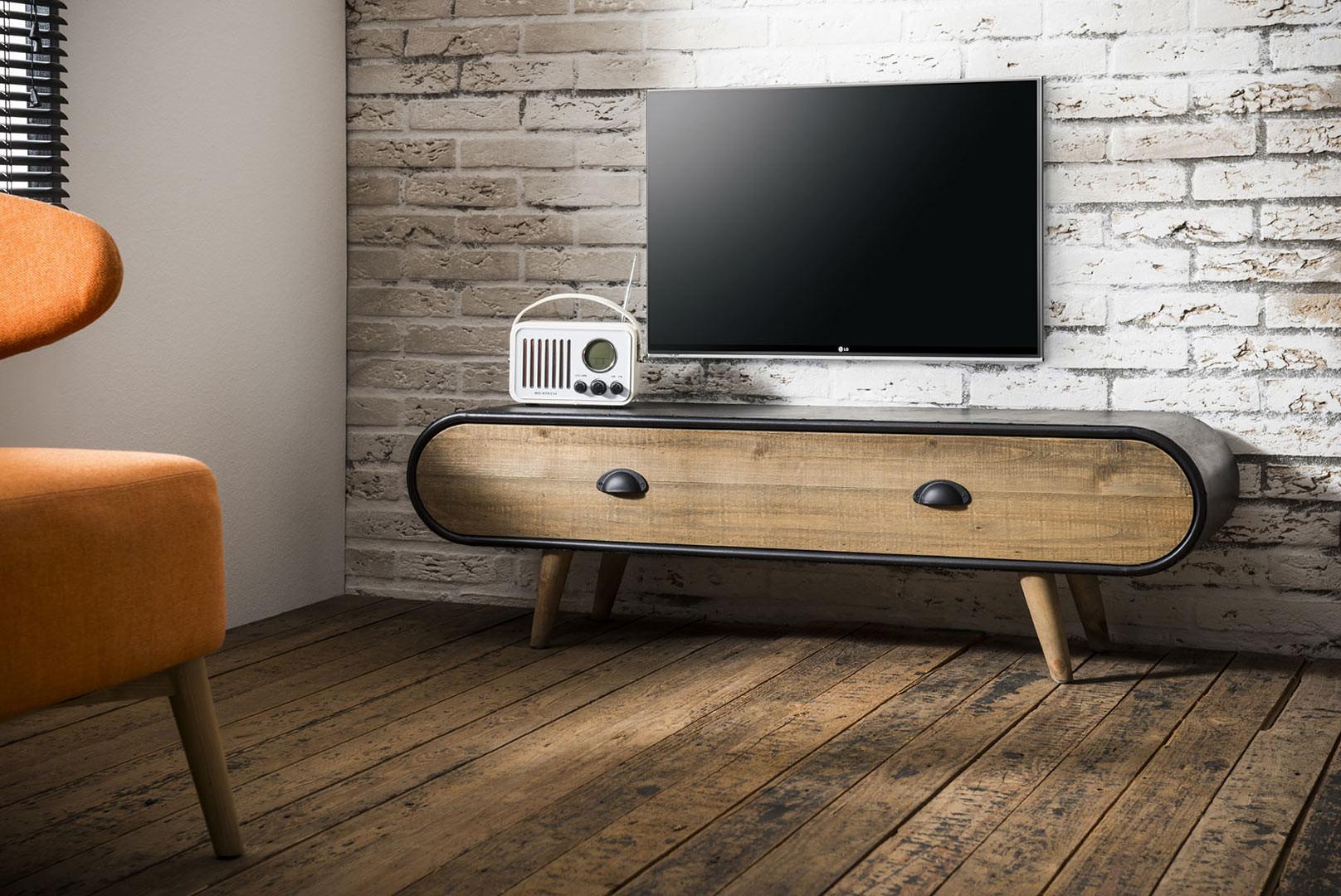 Meuble TV scandinave en bois et métal noir Germain