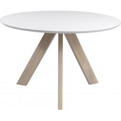 Table à manger contemporaine avec piétement en bois massif Ashley