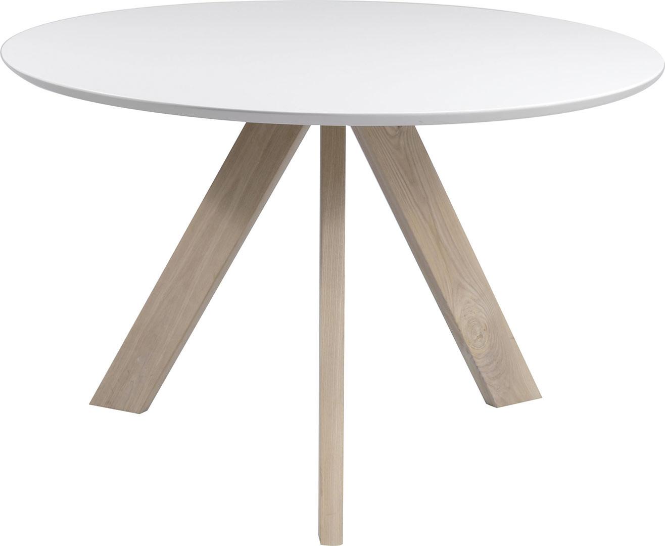 Table à manger scandinave avec piétement en bois massif Ashley