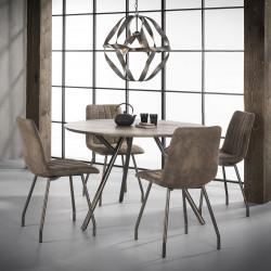 Table à manger ronde vintage en bois brun avec piétement en acier Clémentine