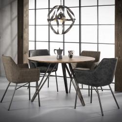 Table à manger ronde vintage en bois brun Ø120 cm Clémence