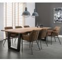 Table à manger vintage en bois massif avec piétement en acier Louise