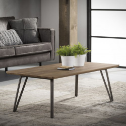 Table basse rectangulaire vintage en bois brun Alban