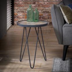 Table basse ronde vintage en bois et métal Ø36 cm Alban