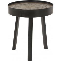 Table basse ronde vintage en bois et métal Ø45 cm Alban