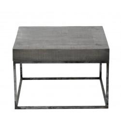 Table basse vintage en bois de manguier sur piétement en acier Eric