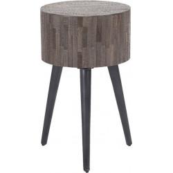 Table d'appoint scandinave ronde en bois Léonce