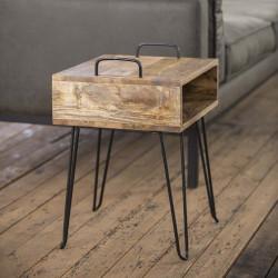 Table d'appoint vintage en bois massif Amandine