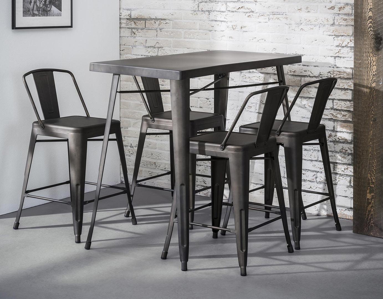 Table de bar industrielle en métal gris foncé Louna