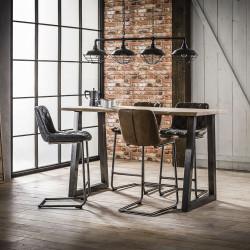 Table de bar vintage en bois massif avec piétement en acier Louise