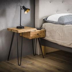 Table de chevet vintage en bois massif avec tiroir à droite Jules