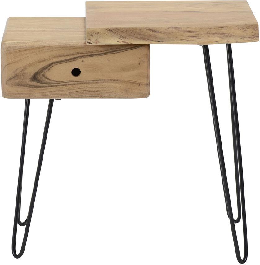 Table de chevet vintage en bois massif avec tiroir à gauche Julia