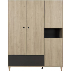 Armoire adulte contemporaine anthracite/chataignier Shiva