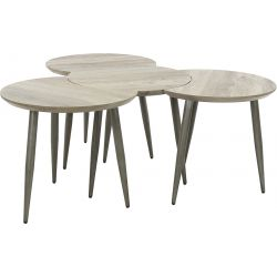 Ensemble De 4 Tables Basses Rondes Vintage En Bois Avec Pietement En Metal Justine
