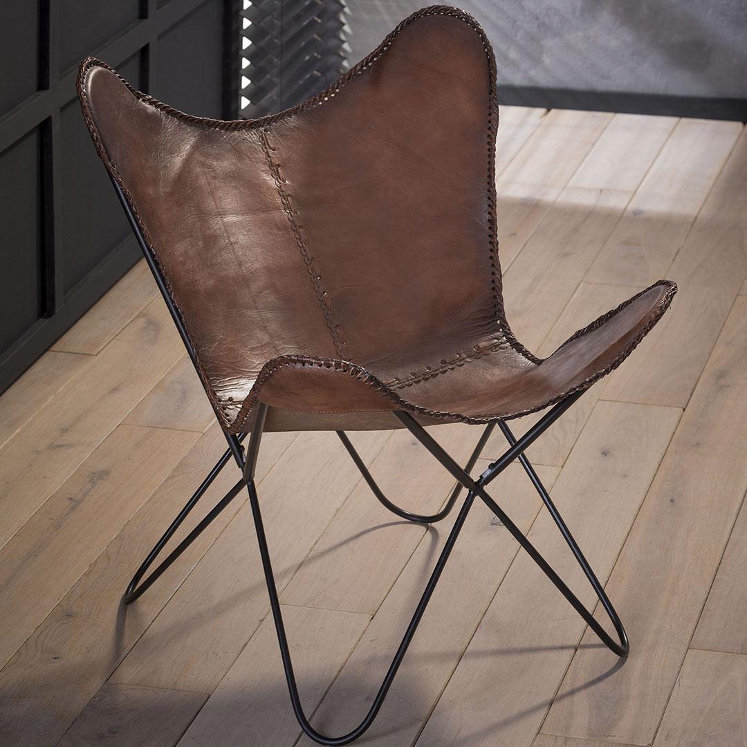 Chaise papillon vintage en cuir (lot de 2) Estelle