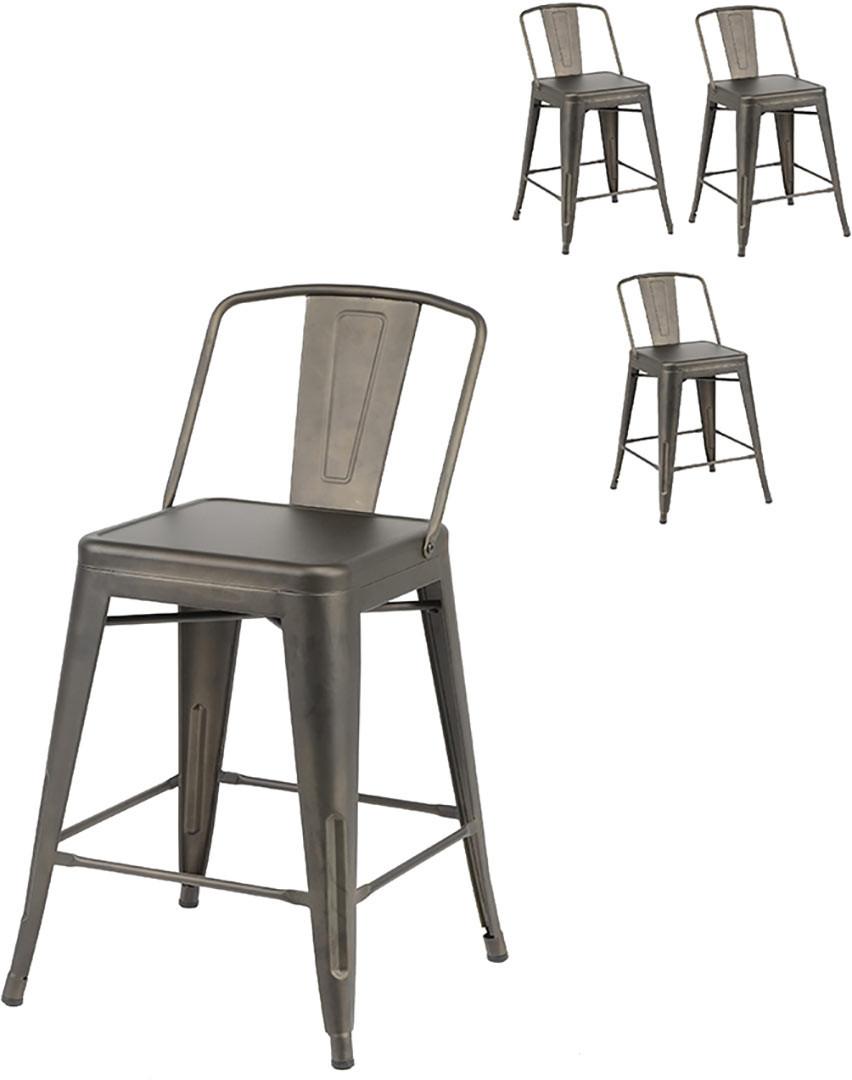 Ensemble industriel de 4 tabourets de bar en métal marron Cyrille
