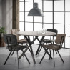 Ensemble vintage de 4 chaises en PU avec piétement en acier Enora