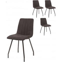 Ensemble de 4 chaises vintage en tissu avec piétement en acier Jeanne