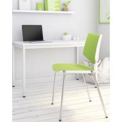 Chaise d'accueil design métal et PVC vert Kenza