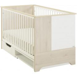 Lit bébé évolutif contemporain chêne clair/blanc Michka