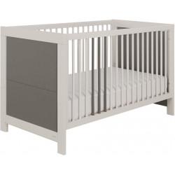 Lit bébé évolutif contemporain gris acier/blanc Suzon