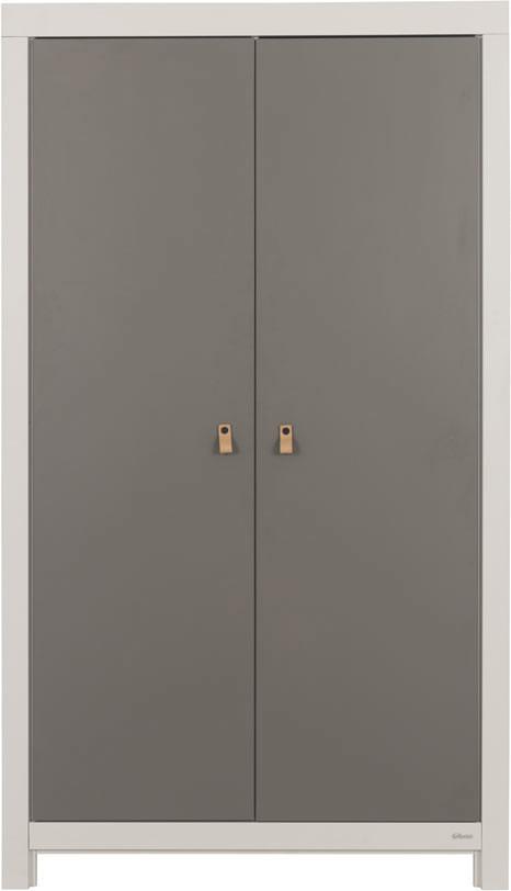 Armoire enfant contemporaine gris acier/blanc Suzon