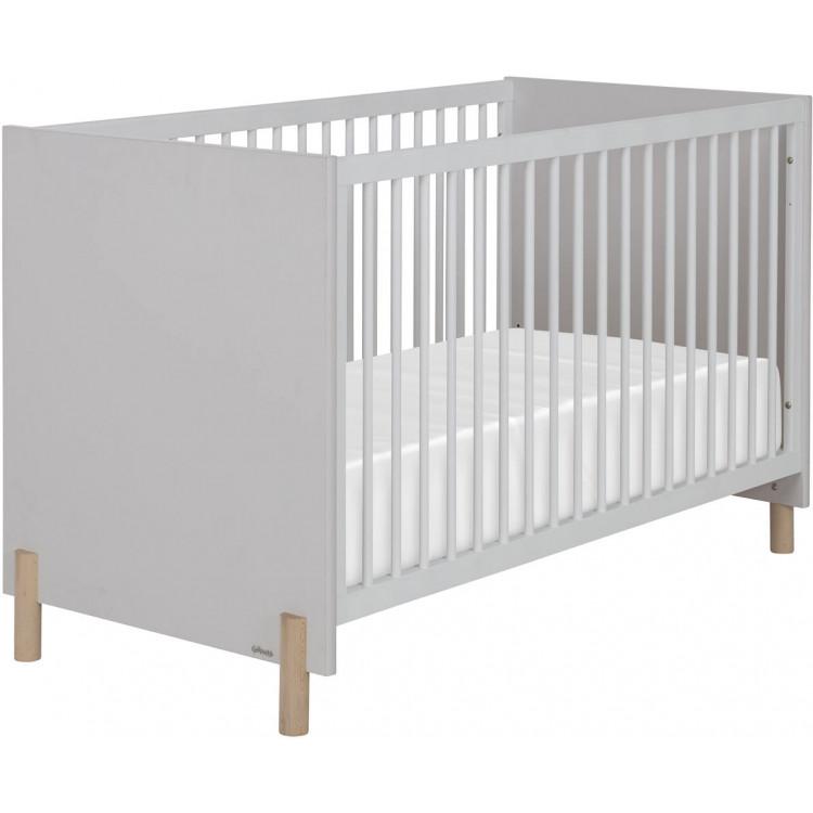 Lit bébé à barreaux scandinave gris clair Sidonie