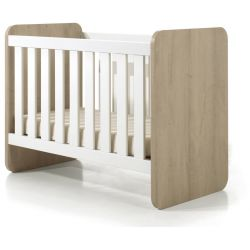 Lit bébé évolutif contemporain chêne clair/blanc Square