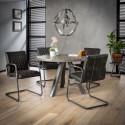 Table à manger industrielle en bois massif Ø120 cm Zéline