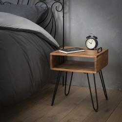 Table de chevet industrielle en bois massif Ziva