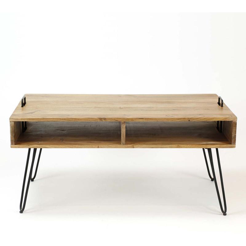 Table de salon industrielle en acacia massif youna matelpro - Table de salon industrielle ...