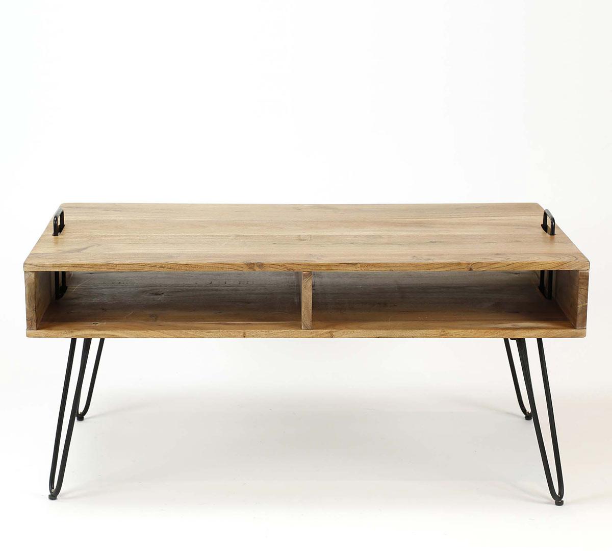 Table de salon industrielle en acacia massif Youna