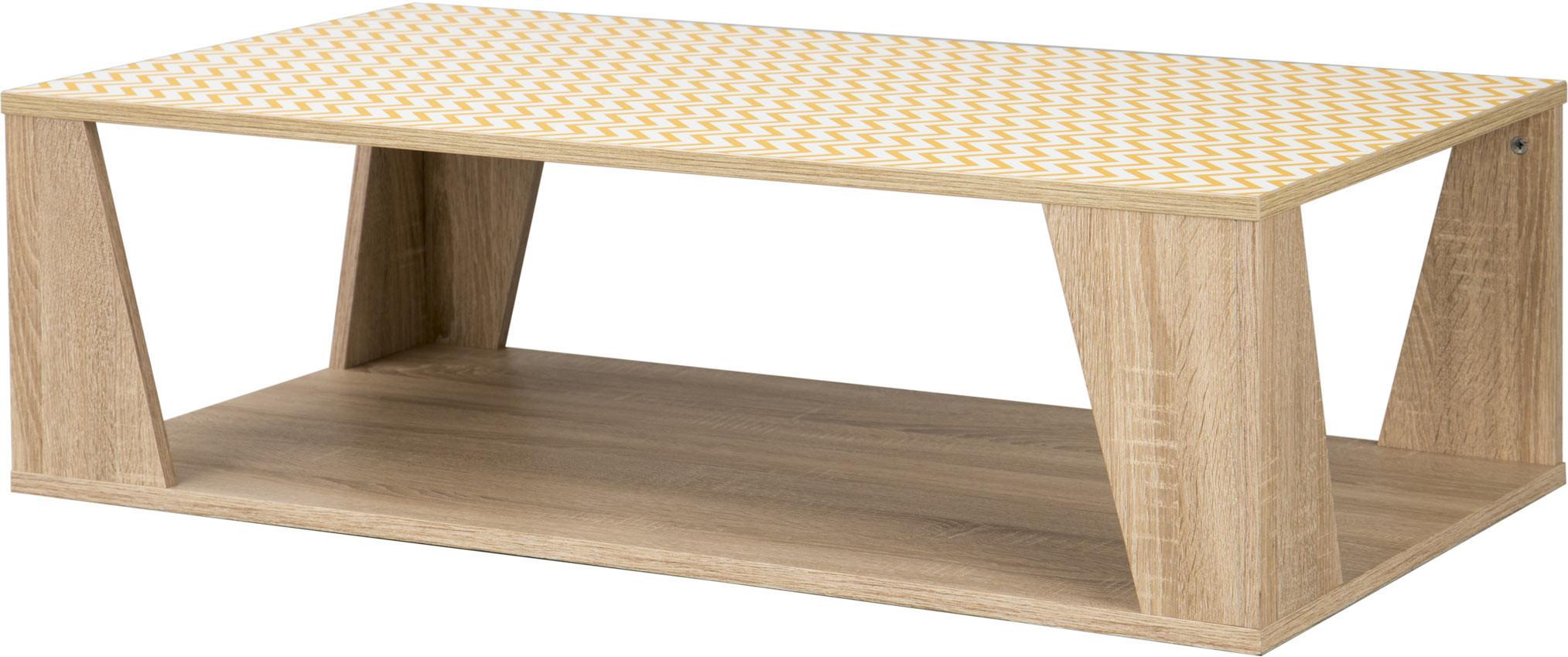 Table basse scandinave chêne clair/sérigraphies jaunes Martina