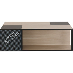 Table basse moderne chêne clair/noir Hermine