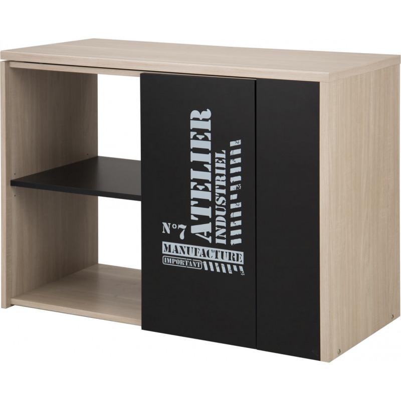 bureau d 39 angle modulable moderne ch ne clair noir hermine. Black Bedroom Furniture Sets. Home Design Ideas