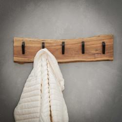 Portemanteau vintage en bois massif 5 crochets Albert