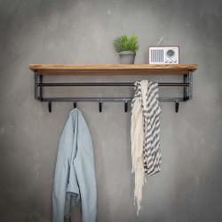 Portemanteau vintage avec étagère en bois massif 6 crochets Alberto