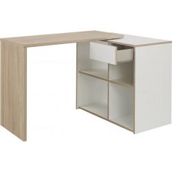 Bureau d'angle modulable scandinave chêne clair/blanc Johana
