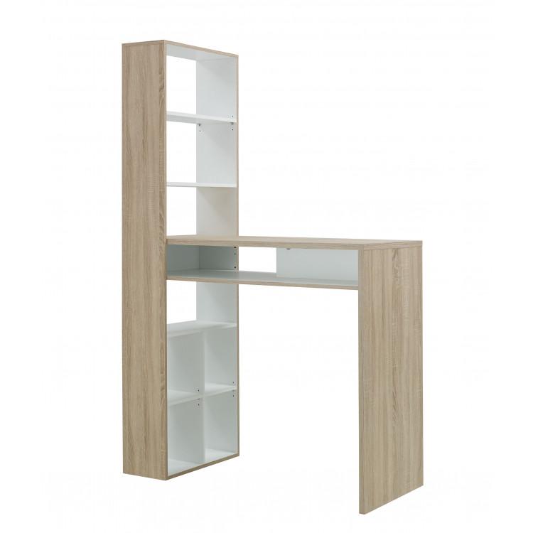Table Haute Scandinave Avec Rangement Chene Clair Blanc Magnus