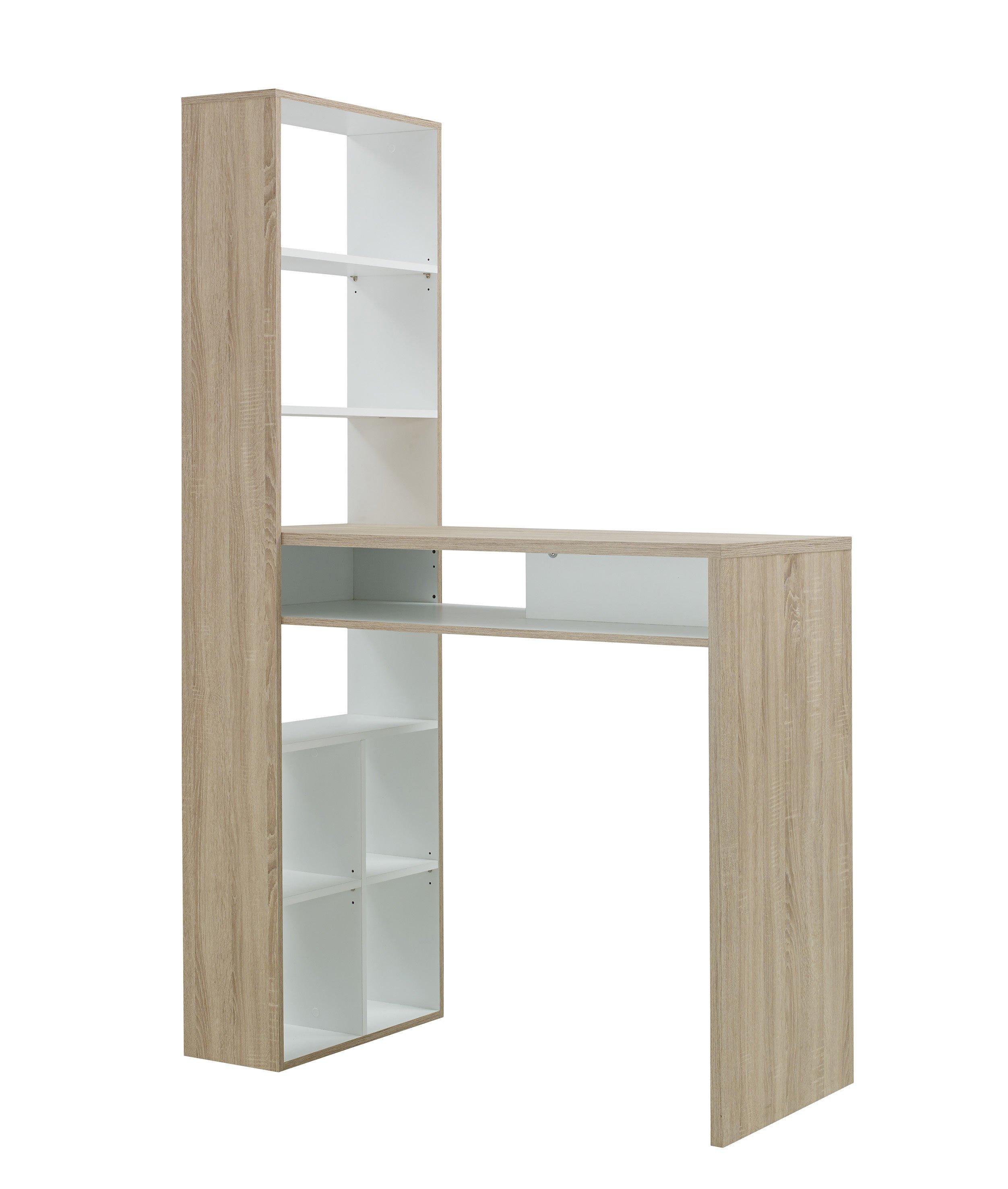 Table haute scandinave avec rangement chêne clair/blanc Magnus