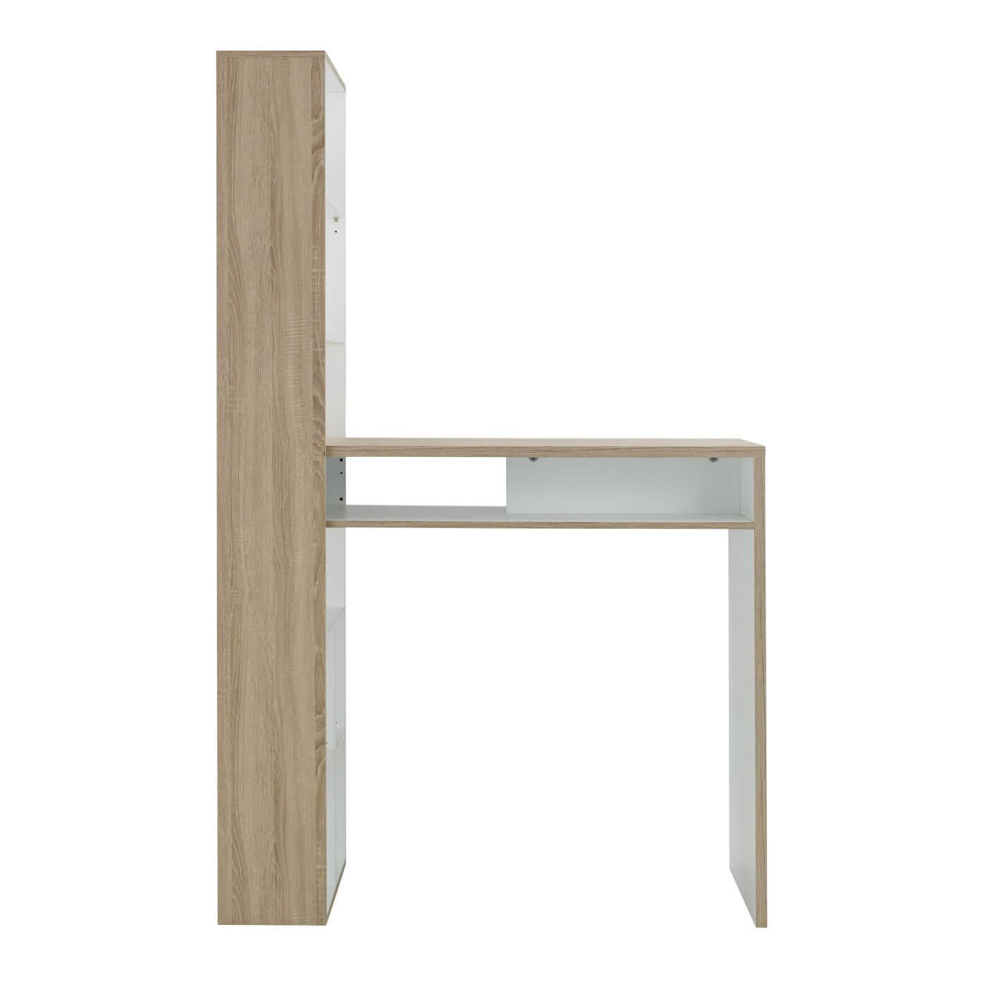 Table haute scandinave avec rangement chêne clair/blanc Magnus | Matelpro