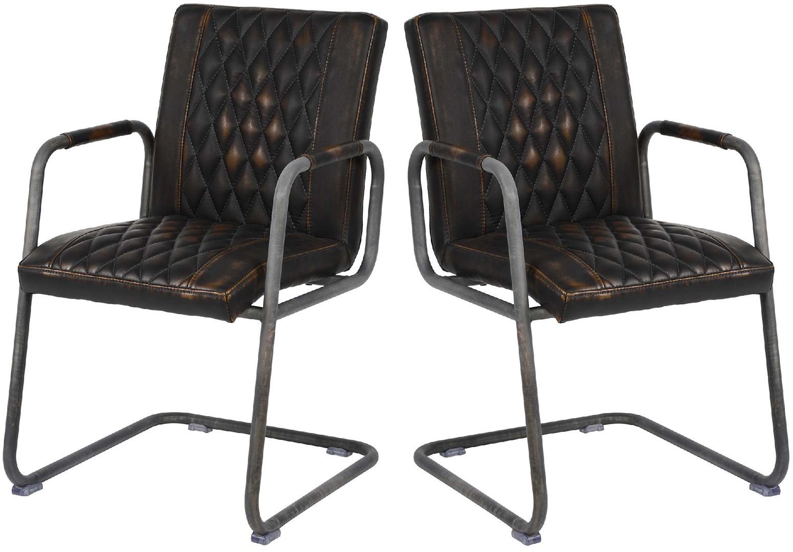 Lot de 2 chaises vintage en PU avec accoudoirs Emilie