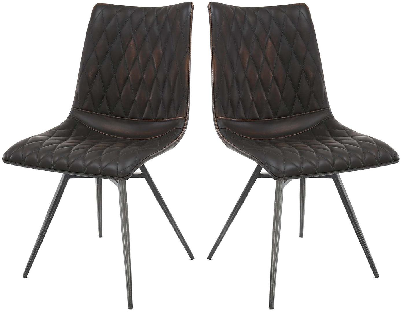Lot de 2 chaises vintage en PU Emiliano