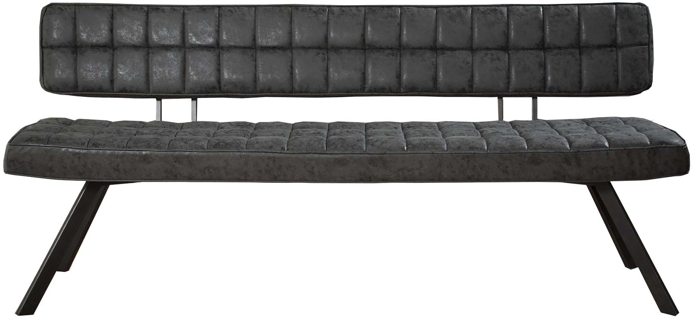 Banc vintage en PU noir 180 cm Emilia