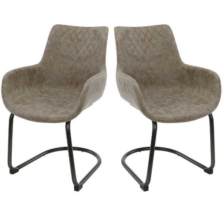 Lot de 2 chaises vintage en PU Leonarda